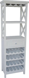 Casa Padrino country style shelf cabinet with drawer and bottle compartments white 58 x 37 x H. 176 cm - Country Style Furniture