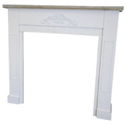 Casa Padrino Country Style Fireplace Surround Antique White / Natural 110 x 23 x H. 100 cm - Shabby Chic Furniture