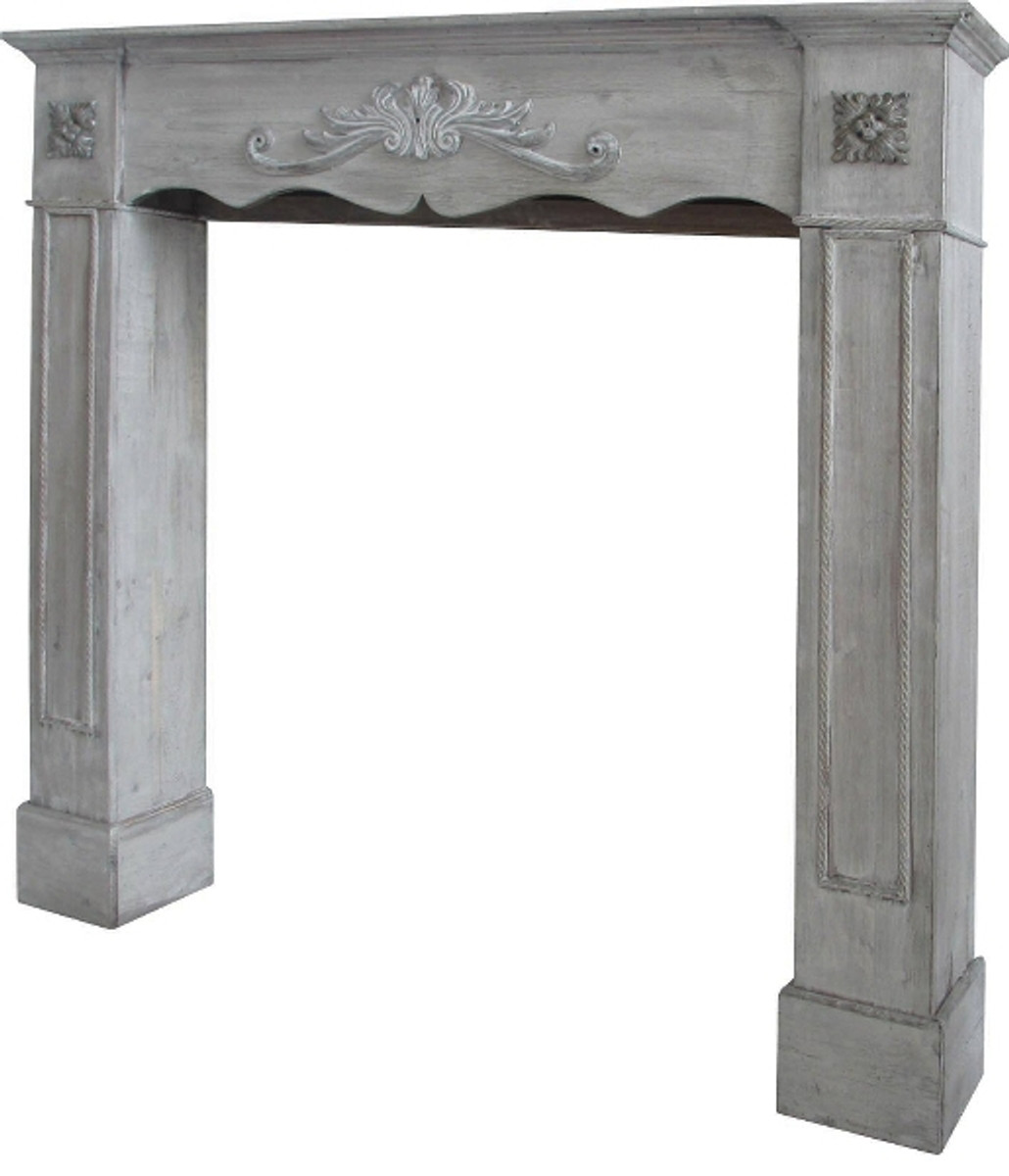 casa padrino country style fireplace surround antique gray 105 x 17 x h 102 cm handmade. Black Bedroom Furniture Sets. Home Design Ideas