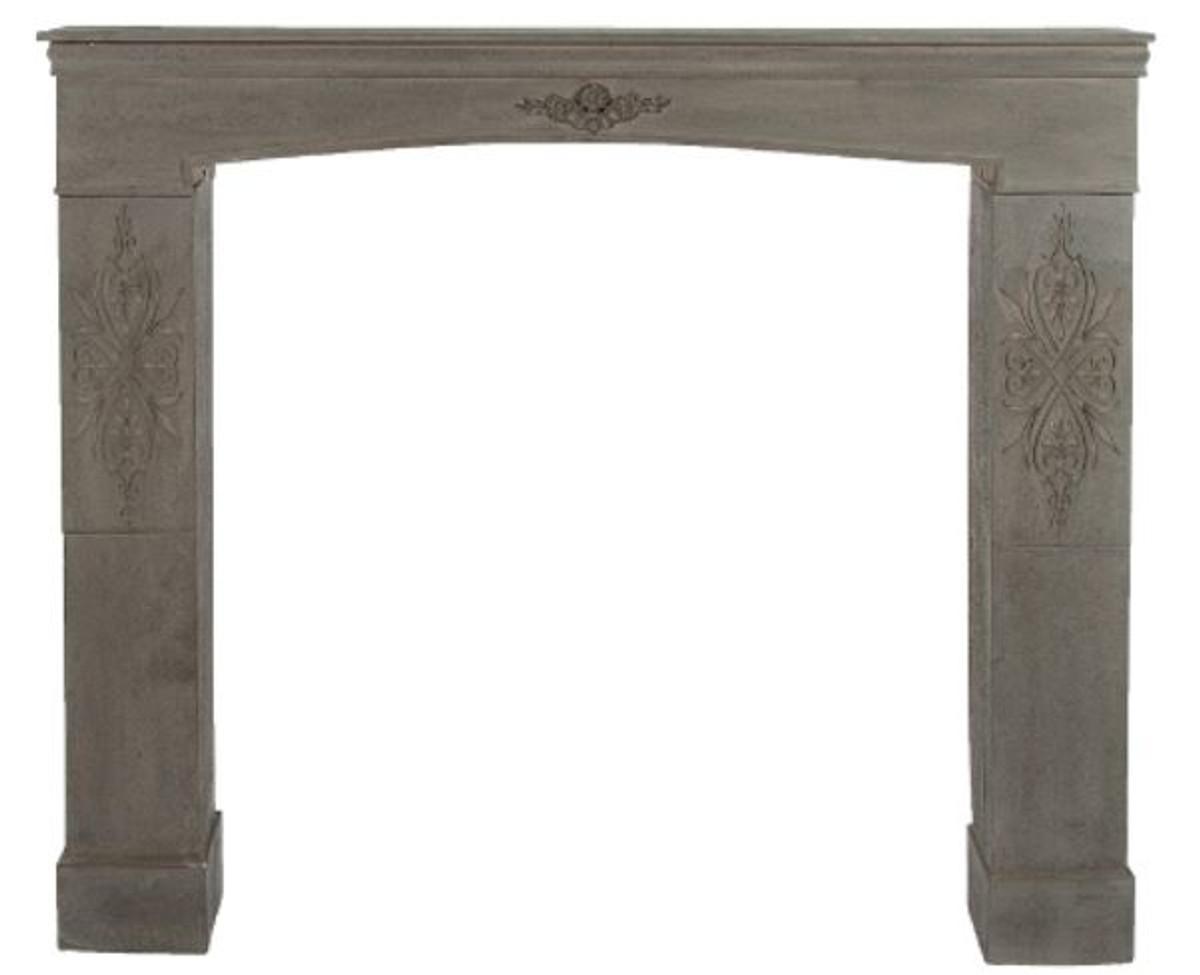 Casa Padrino Landhausstil Kaminumrandung Antik Graubraun 113 x 19 x H. 101 cm - Handgefertigte Shabby Chic Möbel 1