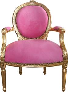 Casa Padrino Luxus Barock Medaillon Salon Stuhl Rosa / Gold - Möbel Antik Stil