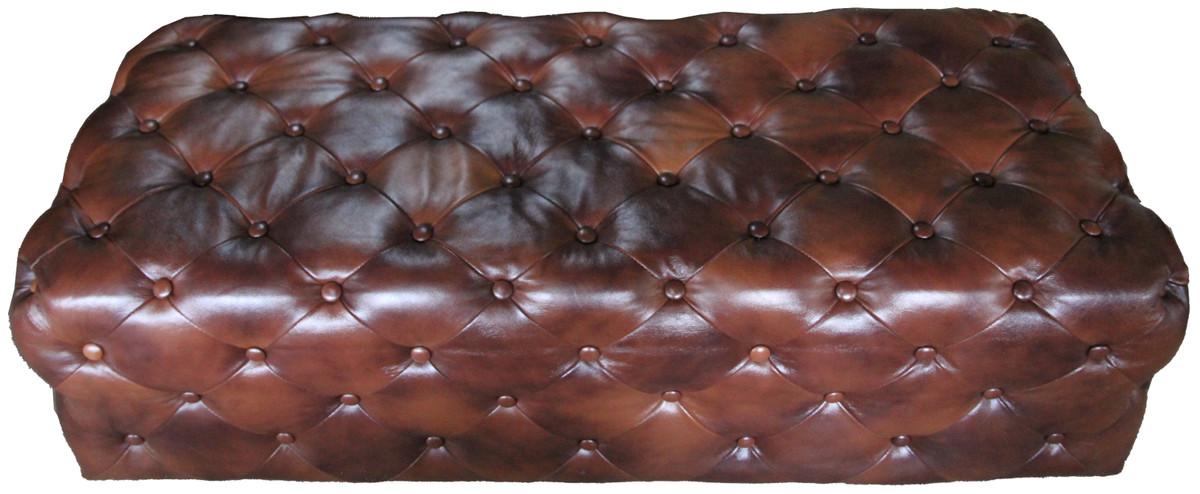 Casa Padrino Luxus Chesterfield Echtleder Fußhocker Dunkelbraun 140 x 60 x H. 42 cm - Luxus Möbel 2