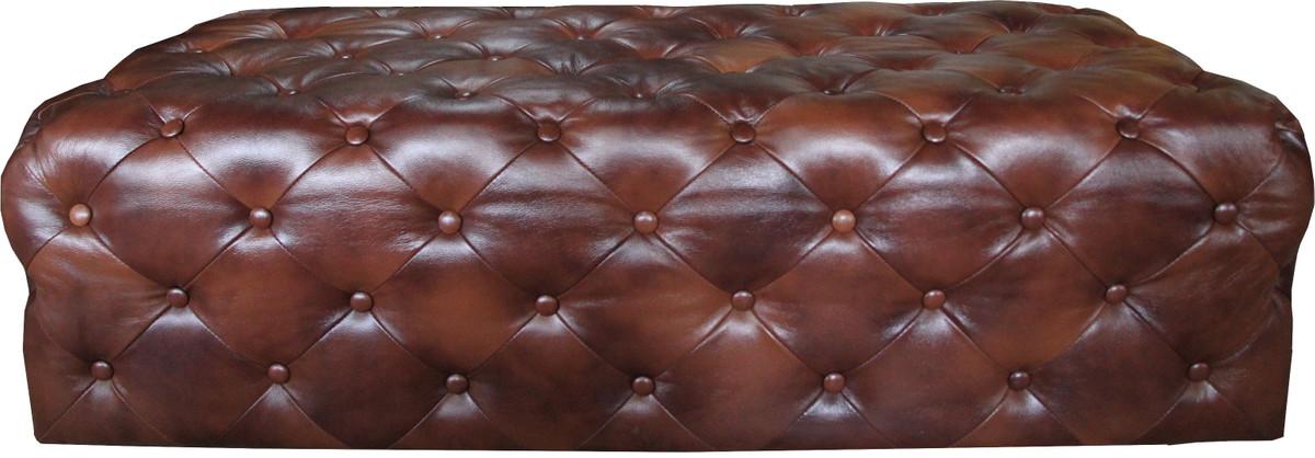 Casa Padrino Luxus Chesterfield Echtleder Fußhocker Dunkelbraun 140 x 60 x H. 42 cm - Luxus Möbel 4