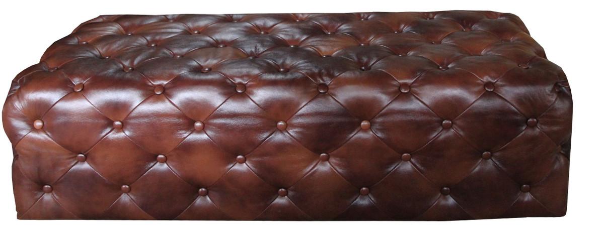 Casa Padrino Luxus Chesterfield Echtleder Fußhocker Dunkelbraun 140 x 60 x H. 42 cm - Luxus Möbel 3