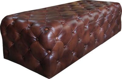 Casa Padrino Luxus Chesterfield Echtleder Fußhocker Dunkelbraun 140 x 60 x H. 42 cm - Luxus Möbel