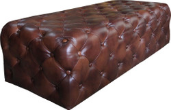 Casa Padrino Luxury Chesterfield Genuine Leather Footstool Dark Brown 140 x 60 x H. 42 cm - Luxury Furniture
