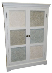 Casa Padrino Country Style Cabinet White / Multicolored 85 x 38 x H. 120 cm - Handcrafted Medium High Cabinet with 2 Doors