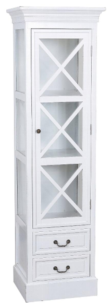 Casa Padrino Landhausstil Vitrine Weiß 48 x 38 x H. 166 cm - Handgefertigte Vitrine mit Glastür & 2 Schubladen 1