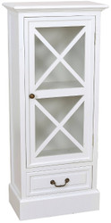 Casa Padrino Country Style Showcase White 46 x 26 x H. 106 cm - Handmade Showcase with Glass Door & Drawer