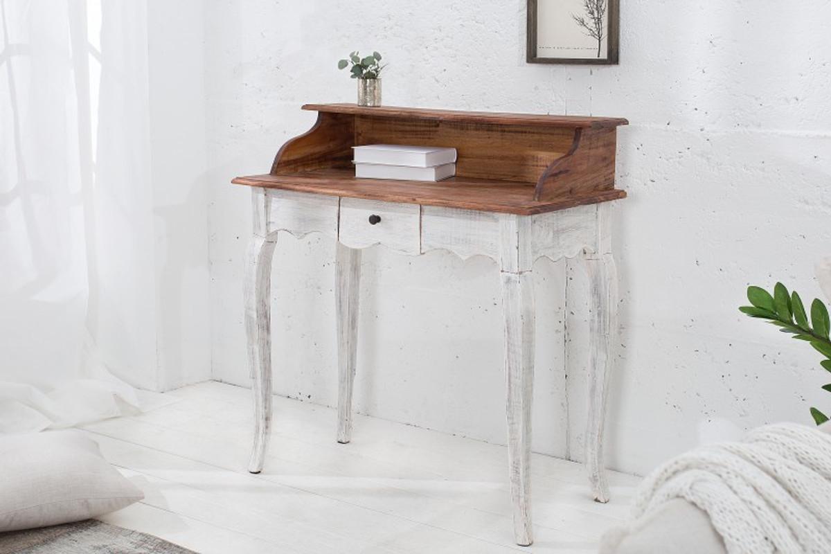 Casa Padrino Landhausstil Schreibtisch Antik Weiß / Natur 80 x 40 x H. 92 cm - Schreibtisch im Shabby Chic Look 2