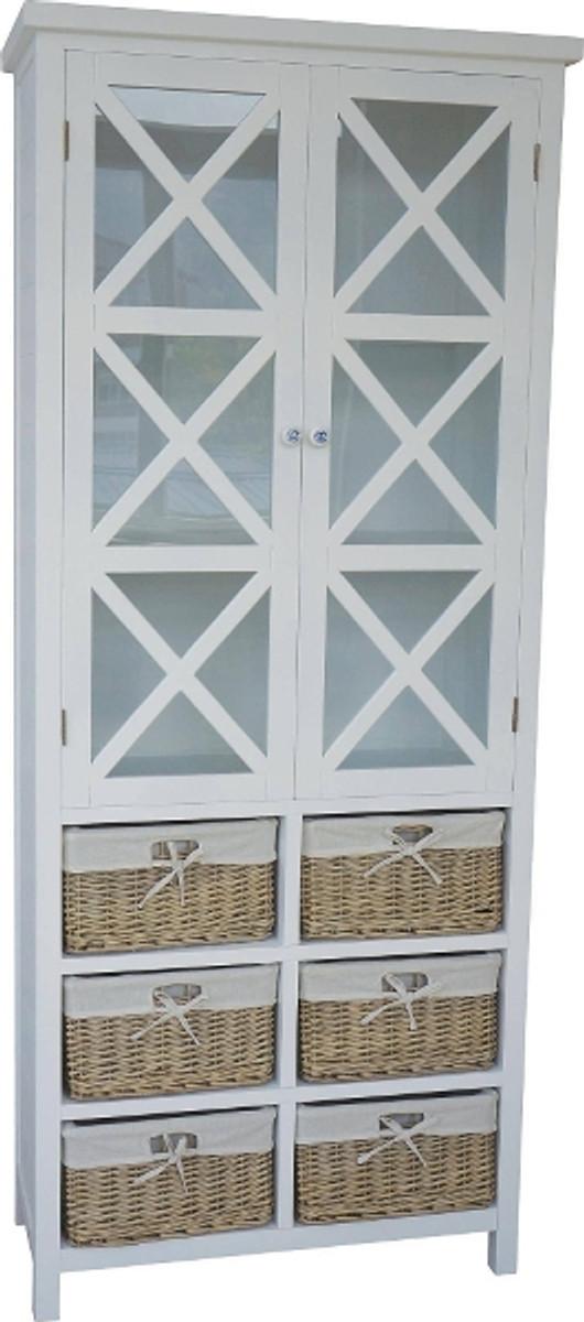 Casa Padrino Landhausstil Vitrine Weiß / Naturfarben 86 x 38 x H. 204 cm - Handgefertigter Vitrinenschrank im Landhausstil 1