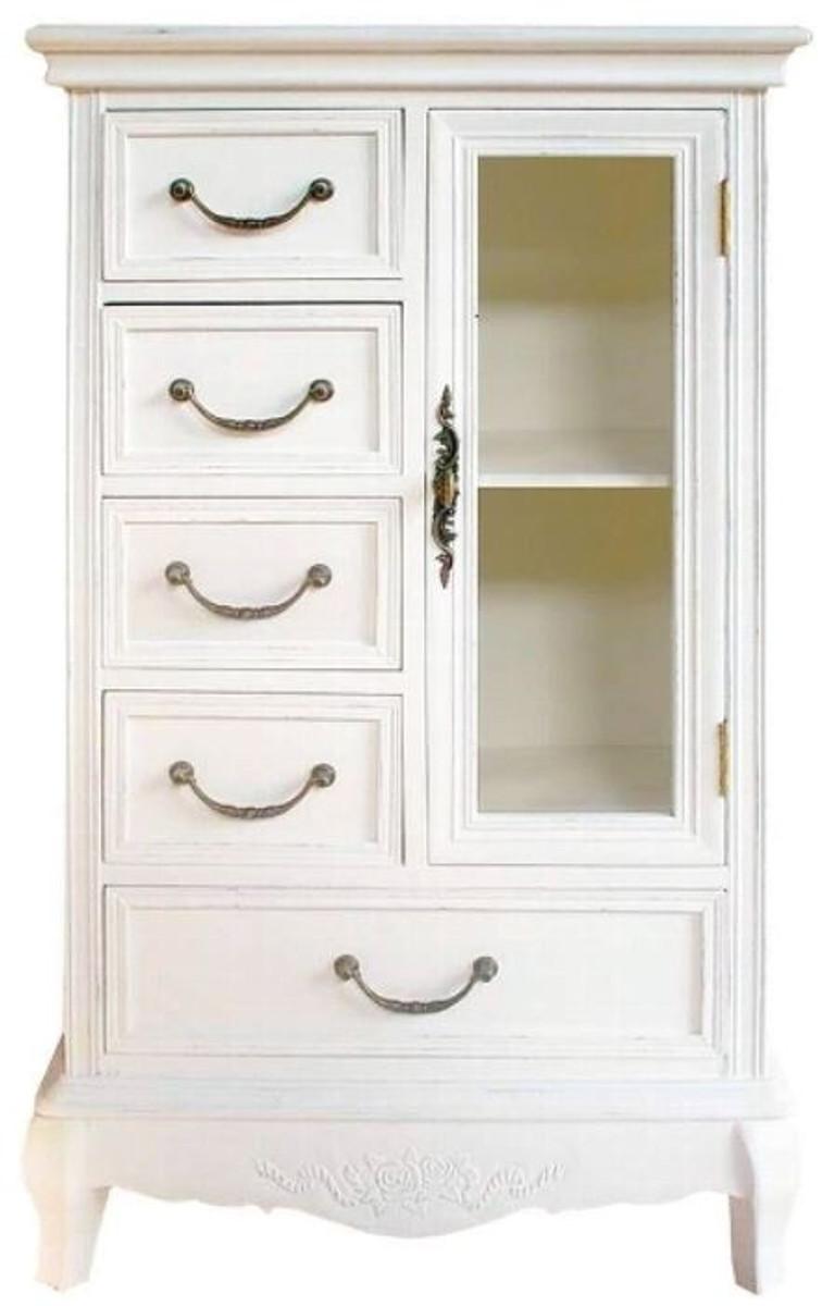 casa padrino landhausstil schrank mit t r und 5 schubladen wei 50 x 30 x h 92 cm. Black Bedroom Furniture Sets. Home Design Ideas
