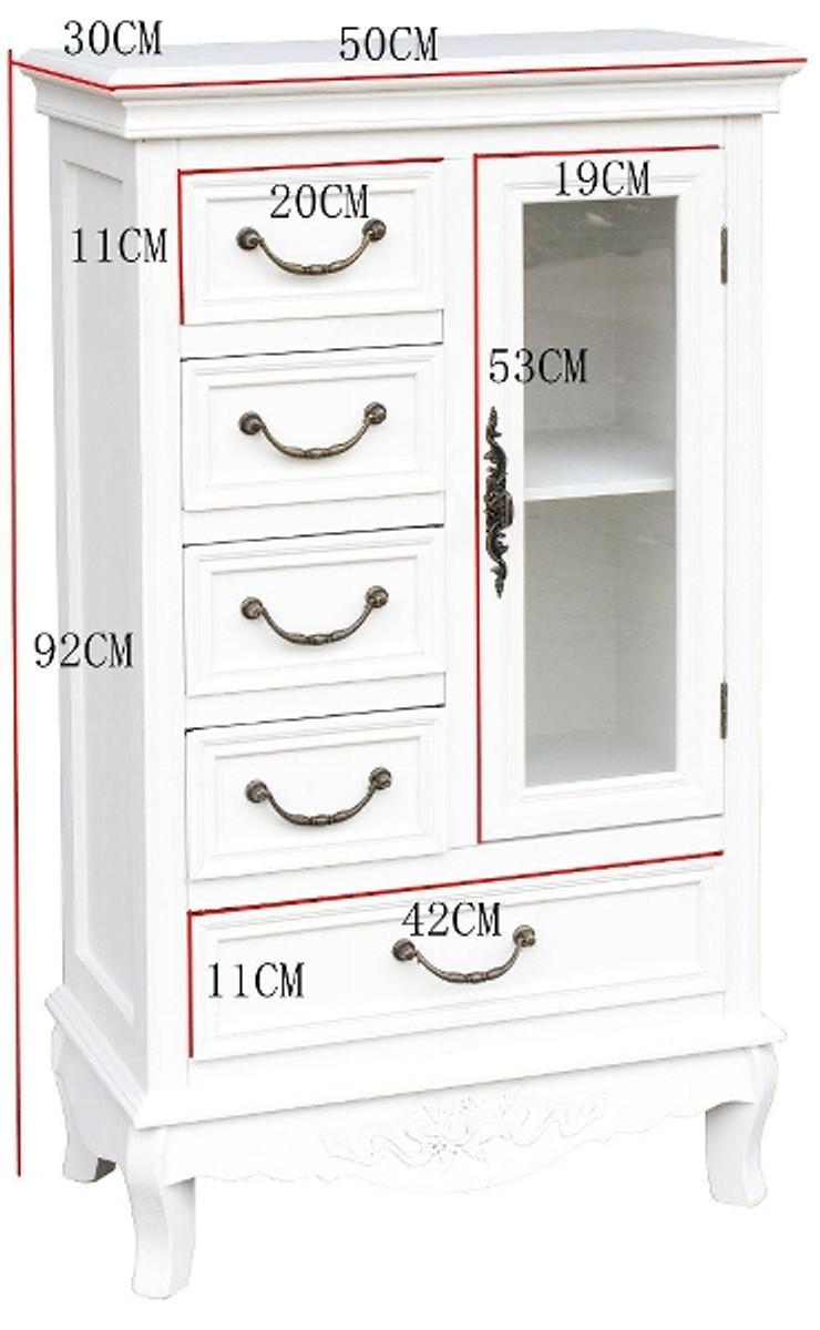 Casa Padrino Landhausstil Schrank mit Tür und 5 Schubladen Weiß 50 x 30 x H. 92 cm - Handgefertigter kleiner Wohnzimmerschrank im Landhausstil 3