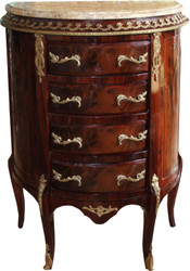 Casa Padrino baroque chest of drawers mahogany brown inlaid with marble top B 68 cm, H 89 cm - Baroque chest of drawers - Limited Edition