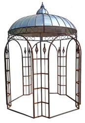 Casa Padrino Pavilion Ø 220 x H. 330 cm - Various Colors - Garden Pavilion made of Wrought Iron with Galvanized Tin Roof