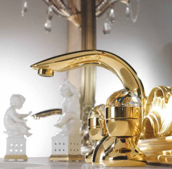 Luxury Bath Accessories - Art Nouveau Retro Basin Mixer Tap Gold Series Cristallo - Made in Italy