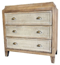 Casa Padrino country style dresser with 3 drawers flax / natural colors 81 x 40 x H. 82 cm - Handmade Furniture in Country Style