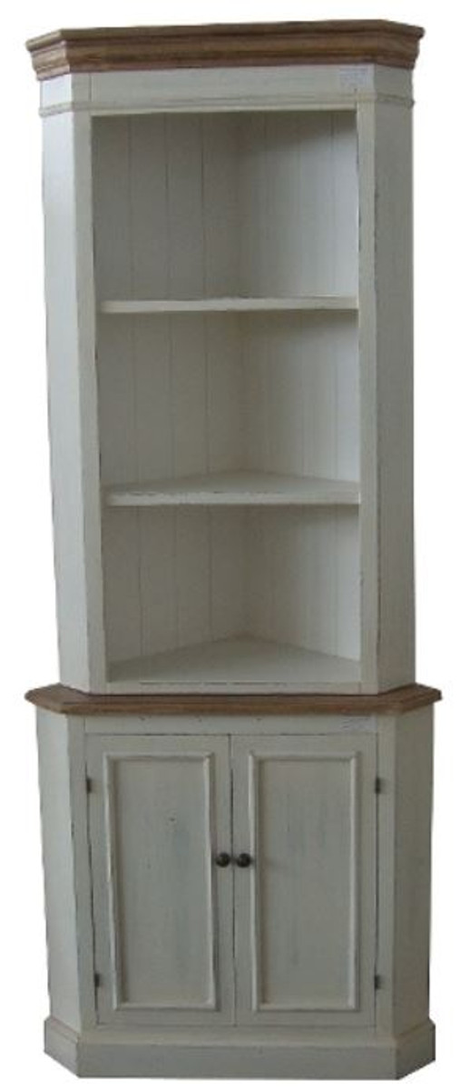 Casa Padrino Country Style Corner Cabinet Antique White / Brown 52 X 52 X  H. 184 Cm   Handcrafted Country Style Cabinet