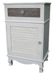 Casa Padrino country style chest of drawers light gray / brown 45 x 32 x H. 76 cm - Handcrafted Chest of Drawers with Door and Drawer