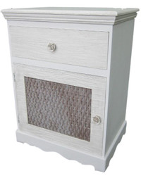 Casa Padrino country style chest of drawers light gray / brown 45 x 33 x H. 61 cm - Handcrafted Chest of Drawers with Door and Drawer