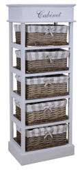 Casa Padrino country style chest of drawers white / natural colors 38 x 28 x H. 104 cm - Handmade Dresser with 5 Rattan Baskets