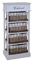 Casa Padrino country style chest of drawers white / natural colors 38 x 28 x H. 86 cm - Handmade Dresser with 4 Rattan Baskets