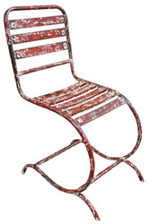 Casa Padrino Art Nouveau Garden Chair Antique Red 40 x 45 x H. 92 cm - Art Nouveau Garden Furniture