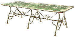 Casa Padrino Art Nouveau Garden Table Antique Green 250 x 90 x H. 75 cm - Art Nouveau Garden Furniture