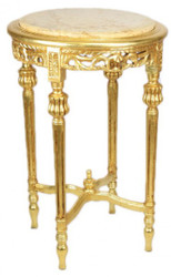 Casa Padrino Baroque table with a cream marble top Round Gold 70 x 45 cm antique style