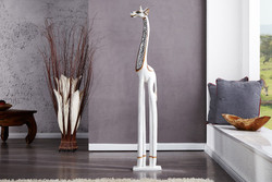 Designer White Giraffe Height 120 cm, width 10 cm fine wooden sculpture and mirror plates & stainless Sumptuously