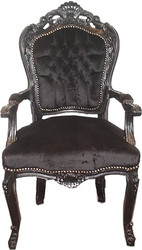 Casa Padrino Baroque dining room chair black / black with armrests