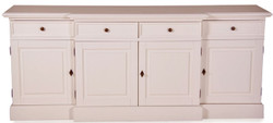 Casa Padrino Shabby Chic Country Style Dresser White W 217 cm - H 90 cm Furniture Hallway Dining Cabinet