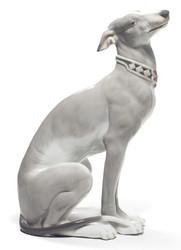 Casa Padrino Luxury Porcelain Sculpture Greyhound Gray / White 11 x H. 30 cm - Handcrafted & Hand Painted Luxury Deco Figurine