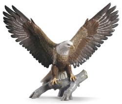 Casa Padrino Luxury Porcelain Sculpture Bald Eagle Multicolored 57 x H. 48 cm - Luxury Deco Eagle Figurine