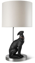 Casa Padrino Luxury Table Lamp with Porcelain Greyhound Silver / Black 35 x H. 69 cm - Table Lamp with Handcrafted & Handpainted Dog Sculpture