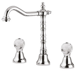 Luxury Washbasin Faucet / Three-Hole Mixer with Swarovski Crystal Glass Silver H. 27.5 cm - Luxury Quality
