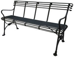 Casa Padrino Wrought Iron Bench / Garden Bench Black 140 x 60 x H. 90 cm - Nostalgia Garden Furniture