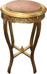 Baroque Side Table Round Gold W. 40 cm x H. 68 cm - solid wood