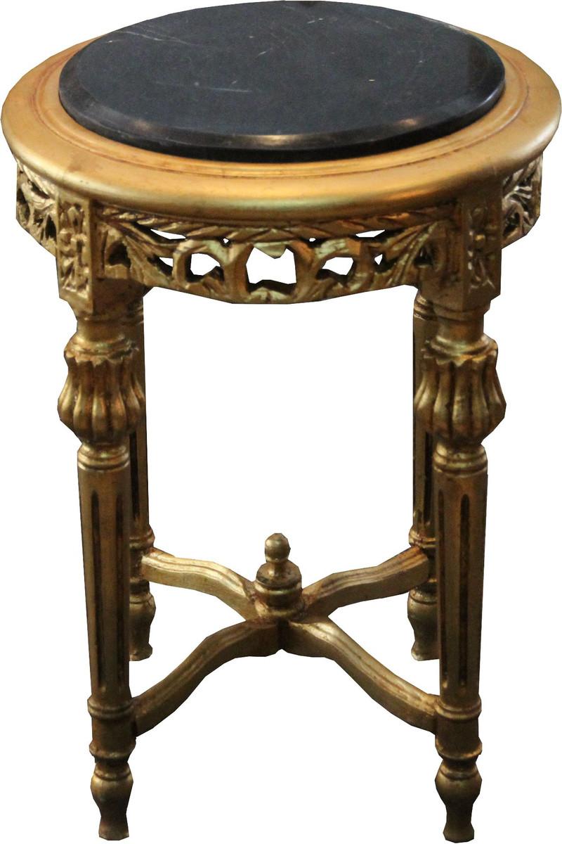 Casa padrino barock beistelltisch rund gold schwarz mit for Marmorplatte rund