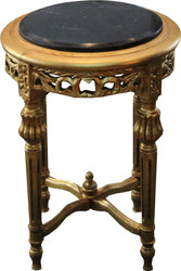 Casa Padrino Baroque side table Round Gold / Black with marble top 37 cm x H. 53 cm antique style