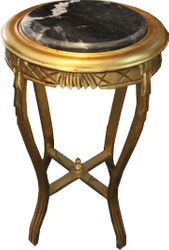 Casa Padrino Baroque side table Round Gold / Black with marble top 40 cm x H. 68 cm antique style