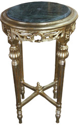 Casa Padrino Baroque Side Table Round Gold with Green Marble Top 37 cm x H. 70 cm Antique Style