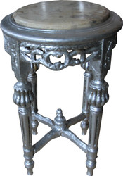 Casa Padrino Baroque side table Round Silver / Creme with marble top 32 cm x H. 53 cm antique style