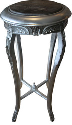 Casa Padrino Baroque side table Round Silver / Black with marble top 42 cm x H. 92 cm antique style