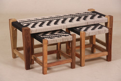 Casa Padrino designer bench with 2 stools 99 x 42 x 42cm black / white / nature