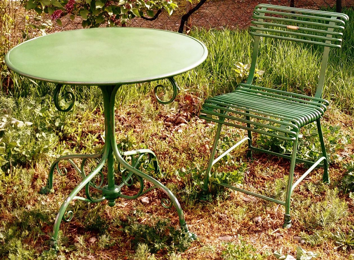 Casa Padrino Art Nouveau Garden Table & Garden Chair - Various Colors -  Handmade Garden Furniture Set