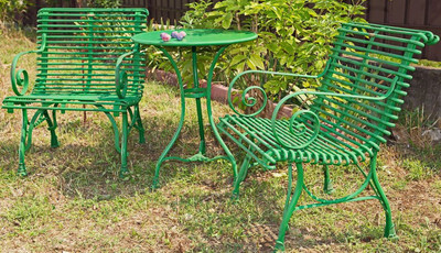 Casa Padrino Art Nouveau Garden Table & Garden Chairs - Different Colors -  3 Piece Garden Furniture Set