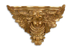 Casa Padrino Baroque wall console with angels Antique Gold 38.5 x 15.8 x H.28,4 - Hotel furniture