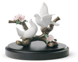 Casa Padrino Luxury Porcelain Doves Sculpture Multicolored Ø 14 x H. 11 cm - Luxury Collection