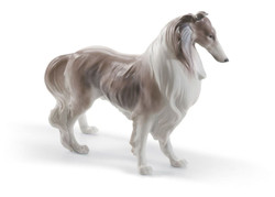 Casa Padrino Luxury Porcelain Shetland Shetland Sheepdog Sculpture Brown / White 25 x H. 19 cm - Handmade & Handpainted Deco Figurine